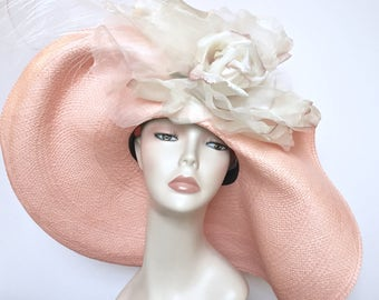 Kentucky Derby Hat Pink Easter Hat Church Hat Wide Brim