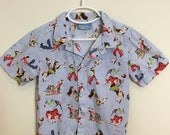 20% Off Sale Nick & Nora Vintage Style Cowboy Print Light Blue Collared Shirt, Boys Size 4T to 5T