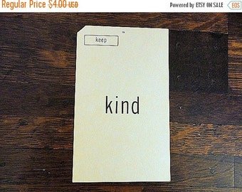 SALE Vintage WORD FLASH Card Kind Keep Double sided card 1960s Mixed media Art supply by metrocottage