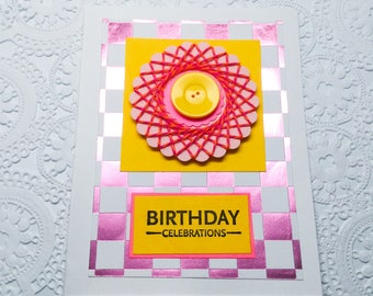 Handmade birthday cards: pale yellow - Happy Birthday - hot pink checkers board - flower card - spirelli card - blue - green