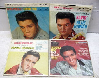 Elvis Collection - Jailhouse Rock - Various Movie Hits - Set of 4  - 45 Records