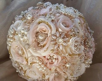 ROSE GOLD Brooch Bouquet, Brooch Bouquet, Custom Brides Bouquet, Pink and Gold Brooch, Gold Jeweled Wedding Bouquet, DEPOSIT Only