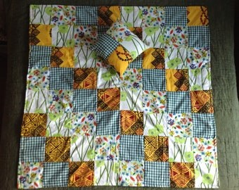 Hawaiian Patchwork Baby Blanket & Pillow Set, Summer Quilt, Bright Colors, Yellow and Green, Flowers and Owls, Unisex