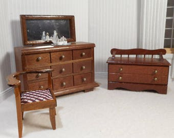 Dollhouse Vintage miniature 1:12 scale 'walnut' furniture