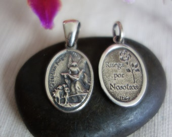 Solid sterling Guardian Angel charm. Double sided.