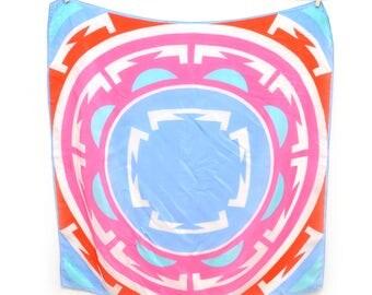 80s Vera Silk Scarf Geometric Square Large Multicolor