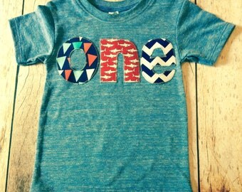 Shark one Birthday Shirt for boys 1st Birthday bunting flags pirate ship skulls chevron ocean sea nautical blue red navy aqua athletic blue