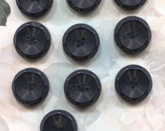 Set of 10 Vintage Black Plastic Buttons- Item# 517