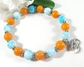 Orange Jade Ohm Bracelet, Yoga Bracelet, Healing Bracelet, Meditation Bracelet, Boho Chic Yoga Jewelry, Stacking Bracelet, Trending Jewelry