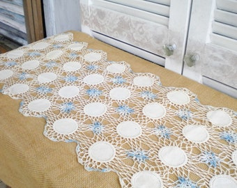 Vintage Crochet Lace Table Runner In Blue And Ivory/Wedding Table Runner/Something Blue/Vintage Handmade Runner/Shabby Chic/Tea Party