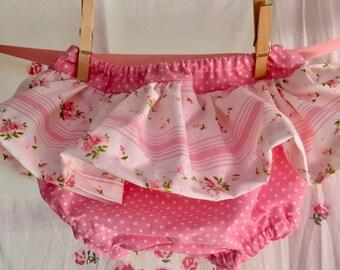 shabby baby NEW skirt bloomers SET diaper cover shower gift 12 months handmade of  vintage sheets
