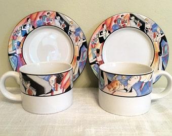 2 Tango Tea Cups / Sakura Tango  Cups & Saucers / Sue Zipkin Design / Tango Dancers Cups / Sue Zipkin Tango /  Tango Dancer Gift / Stoneware