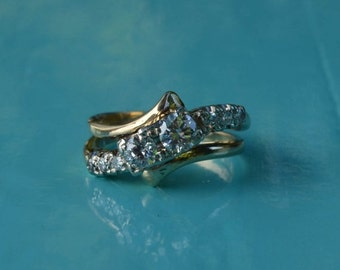DEADsy LAST GASP SALE lovebirds: Antique Two Diamond Engagement Ring with 1800s Antique Diamonds, White and Yellow Gold in a British Edwardi