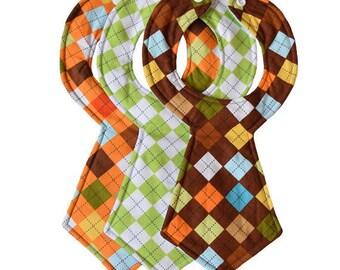 Argyle Baby Necktie Bibs (Set of 3)