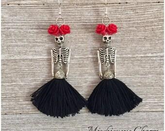 Day of the Dead Frida Kahlo Skeleton Earrings