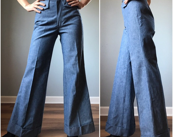 Vintage 70s Deadstock Lee Denim Bell Bottoms