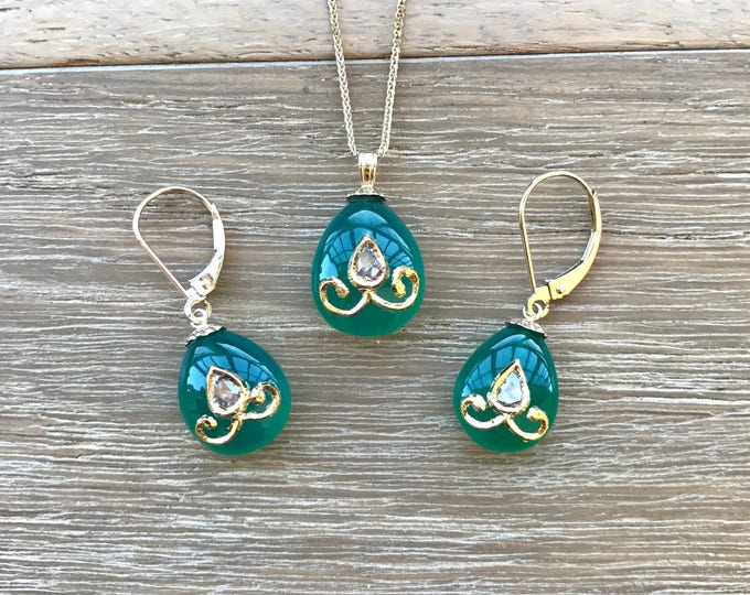 Artisan Jewelry Set- Chrysophrase Diamond Earring Necklace- Matching Diamond Gold Jewelry- Handcrafted Unique Jewelry Set