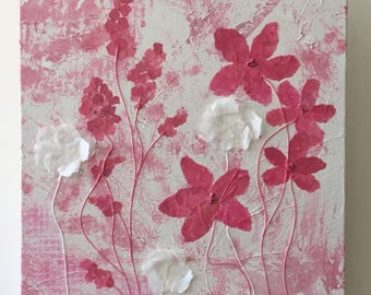 Pink and White Floral Mixed Media on Canvas, pink wall decor, feminine, hand painted tissue paper background, paper and thread, 12x16x1.5