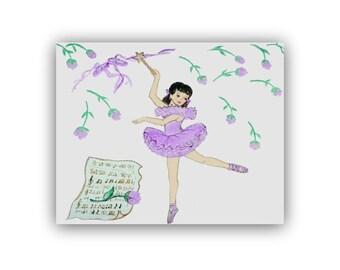 Ballerina Girl Nursery Decor, Ballet Wall Art prints, Girl Nursery Art, Ballerina Wall Art, Nursery room prints, Puple room decor, Kids Art