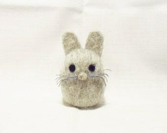 Needle Felted Rabbit -  miniature grey rabbit figure - 100% Corriedale wool - wool felt rabbit - Easter bunny
