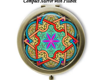 Moroccan Design 4 Choose Compact Mirror or Pillbox and Mirror - Choose Finish Bronze Silver - Pocket Folding Mirror - Great Gift Idea