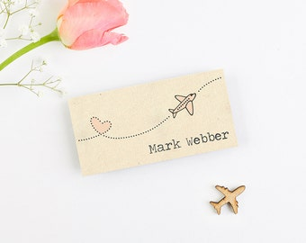 Bunting Map Aeroplane Folded Wedding Place Card