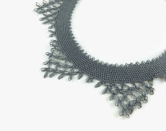 Gray Tatted Lace Choker Necklace, Crochet Collar Style Gray Necklace, Turkish Oya, Elegant and Lightweight, Crochet Jewelry
