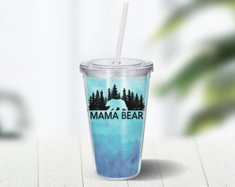 Mama Bear 16 ounce Double Wall Acrylic Cup and Straw