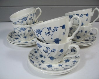 Churchill Cups and Saucers, Blue and White Ceramic Ironstone Coffee Tea Cups Saucers