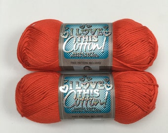 """PAPAYA Solid  -  """"I Love This Cotton"""" Yarn by Hobby Lobby - 2 skeins"""