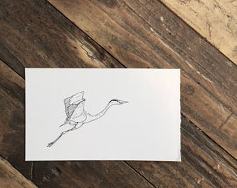 Original Ink Illustration of a Heron - Drawing - Gift - Birds