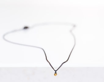 oxidised silver necklace with citrine in gold