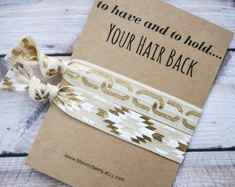Ivory/Gold Bridemaid Gift 2 pcs set - To Have and To Hold Your Hair Back- Bridesmaid Proposal Gift- Wedding/Bridesmaid/Gift/Party
