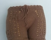 Brown Crochet shorts,lace shorts swimsuit,summer short,bikini cover,beach cover up,shorts,festival clothing,gypsy,boho,summer wear