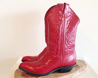 Vintage Red Leather Cowboy Boots Ladies Size 9 by Laredo