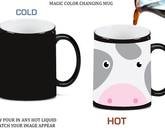 Moo Farm Cow Cute Face Morph Morphing Color Changing Ceramic Coffee Mug Tea Cup 11oz, 6962r46