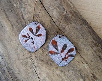 autumn leaves- botanical enamel earrings (FREE SHIPPING)