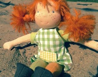 Pippi Longstocking waldorf doll 10 inch (or 10 inch custom made doll)