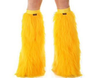 Golden Yellow Rave Fluffies - Fluffy Leg Warmers - Furry Boot Covers - Long Pile Faux Fur Golden Yellow Fluffies