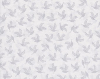 Quilting Treasures Fabric, Something Old Something New, Gray Doves on White