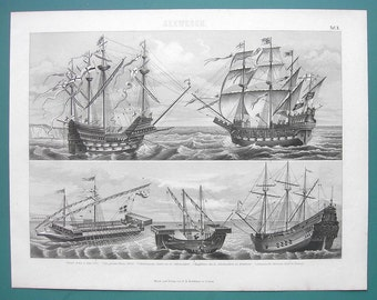 SHIPS of War 16th Century Caracca Great Harry Gunships - 1870s SUPERB Antique Print