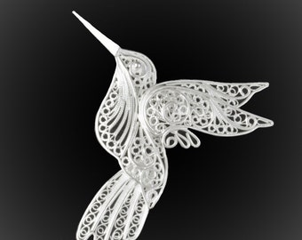 Hummingbird brooch silver embroidery