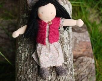 Waldorf doll 12.5 inch, black hair, flower girl