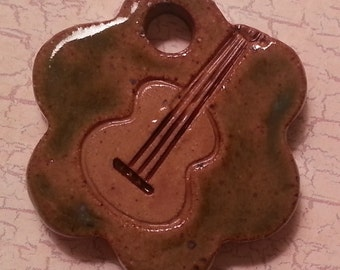 Pottery Pet Cremains Motif Pendant, Necklace, Key Chain or Mini Ornament - Custom Memorial Pet Cremation Keepsake - GUITAR