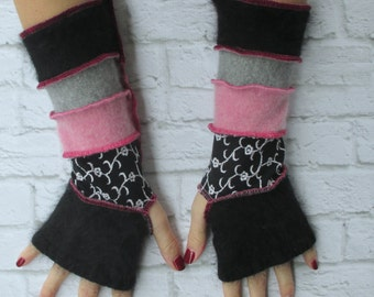 Texting Gloves - Fingerless Gloves - Arm Warmers - Driving Gloves - Top Sellers - Gifts Under 30 - Pink Black & Grey - Festival Clothing