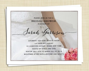 10 Bridal Shower Invitations - Pink Peony Bouquet - color choices - PRINTED