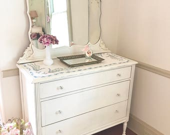 Forever Pink - Lovely White Antique Dresser with Etched Tiara Mirror