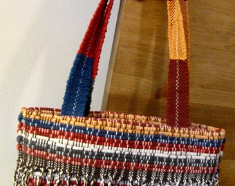 Rag Rug Style Tote Beach Bag in Red, Orange, Blue , and White Handwoven in Nicaragua