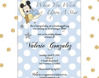 Baby Mickey Baby Shower Invite, Digital Invite, 5x7, Blue, Polka Dots, Customizable