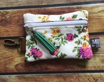 Zippy Pouch in Pretty Floral Fabric & Leather